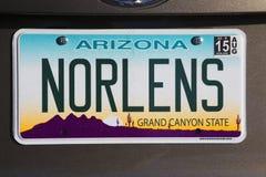 L'Arizona, Tucson, Etats-Unis, plaque minéralogique de vanité indique la Nouvelle-Orléans Image stock