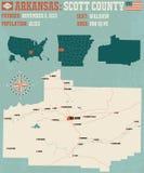 L'Arkansas : Carte du comté de Scott Photos stock