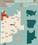 L'Arkansas : Carte du comté de Sebastian illustration stock