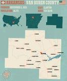 L'Arkansas : Carte du comté de Van Buren Images stock