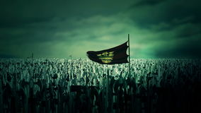 L'armée de Roman Byzantine Empire allant à la guerre tenant le double drapeau d'aigle illustration de vecteur