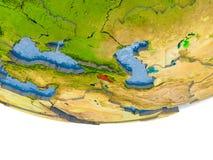 L'Arménie en rouge sur le modèle de la terre Photos stock