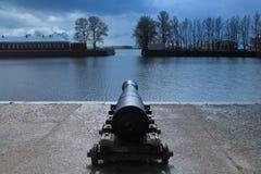 L'arme à feu sur la banque de l'étang italien Image stock
