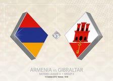 L'Armenia contro Gibilterra, lega D, gruppo 4 Competi di calcio di Europa royalty illustrazione gratis