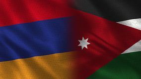 L'Armenia e Jordan Realistic Half Flags Together fotografie stock libere da diritti