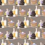 L'arome de fines herbes de cosmétiques de massage de bien-être de procédures de beauté de traitement de station thermale lapide l Images stock