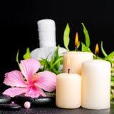 L'arrangement de station thermale de la ketmie fleurissent, bambou de brindille, compres de fines herbes thaïlandais Images libres de droits