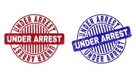 L'ARRESTATION DE DESSOUS grunge a donn? aux timbres une consistance rugueuse ronds illustration libre de droits