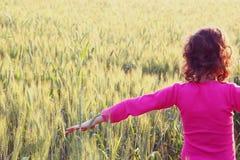 L'arrière de l'enfant heureux regardant le coucher du soleil dans le domaine de blé, explorent et risquent le concept photographie stock libre de droits