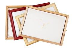 L'arrière de la vieille photo en bois de vintage encadre le tas Photos stock