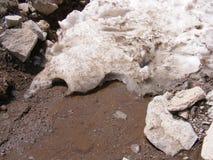 L'arrivée du ressort et de la fonte de la neige amasse Images libres de droits