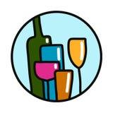 L'ARS disegnata a mano variopinta dell'alcool di logotypefor di logo dell'illustrazione di vetro da bottiglia stampa gli autoades illustrazione vettoriale
