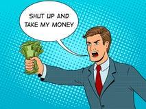 L'art de bruit de cri d'homme et d'argent dirigent l'illustration illustration libre de droits