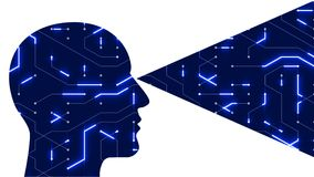 l'art de ligne numérique de circuit de tête du cerveau 4k, les gens pensent l'intelligence artificielle d'AI illustration libre de droits