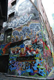 L'art de rue de ruelle de bonnetier est un de l'attraction touristique principale à Melbourne Image libre de droits
