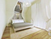 L'art deco ha disegnato la camera da letto con le pareti verde oliva leggere Fotografia Stock Libera da Diritti