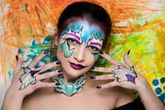 L'art lumineux de femme composent Image libre de droits