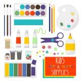L'art ouvre des articles pour la créativité d'enfants Ensemble d'approvisionnements d'art pour des enfants Illustration de vecteu illustration de vecteur