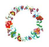 L'art populaire décoratif fleurit - la guirlande florale dans des motifs de slavic watercolor Illustration Libre de Droits