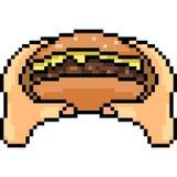 L'arte del pixel di vettore mangia l'hamburger Fotografia Stock Libera da Diritti