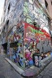L'arte della via del vicolo del calzettaio è una dell'attrazione di turisti principale a Melbourne Fotografie Stock Libere da Diritti