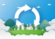 L'arte di carta di ricicla il concetto ed il modello verde del fondo della città fotografia stock