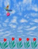 L'arte di Digitahi dei 2D cinque cuori coltiva le piante con l'uccello ed il cuore Immagine Stock