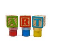 L'arte di parola sulle bottiglie della pittura isolate su fondo bianco Fotografia Stock Libera da Diritti