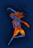 L'arte di vettore del krishna di signore gode di di ballare illustrazione di stock