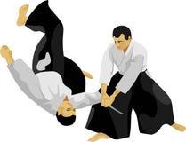 L'arte marziale del giapponese di aikidi illustrazione vettoriale