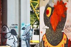 L'arte su Bangkok ha elevato il sistema BERTS del treno e della strada o il progetto HopeWell a Bangkok Tailandia Fotografie Stock Libere da Diritti