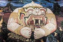 L'arte tailandese tradizionale di Ramayana, Hanuman tiene Rama sulla sua bocca Immagine Stock