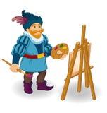 L'artista con il cavalletto, le spazzole e le pitture colorati spruzza royalty illustrazione gratis