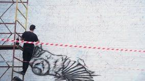 L'artista dipinge un'arte della via dell'uccello sulla parete video d archivio