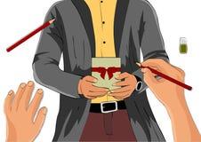 L'artista disegna un tipo che porta un regalo alla sua amica royalty illustrazione gratis