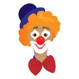 L'artiste In Classic Outfit de clown de cirque avec le nez rouge et composent tenir un ballon dans l'exposition de cirque Image stock