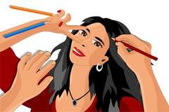 L'artiste dessine, la fille qui fait un selfie illustration libre de droits