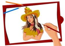 L'artiste dessine une fille dans un chapeau, une photo de vecteur du processus du dessin avec des crayons sur une feuille de pays illustration libre de droits