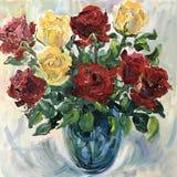 L'artiste a peint les fleurs immobiles d'une vie Image stock