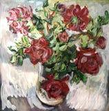 L'artiste a peint les fleurs immobiles d'une vie Image libre de droits