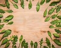 L'arugula frais laisse le cadre rayé sur l'endroit rustique en bois de vue supérieure de fond pour le texte, vue supérieure de fo Image stock