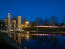 L'ascensore di Peterborough chiude Trent Severn Waterway At Dusk a chiave immagine stock libera da diritti