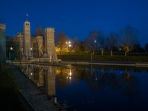 L'ascensore di Peterborough chiude Trent Severn Waterway At Dusk a chiave immagini stock
