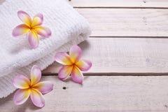 L'asciugamano della stazione termale fiorisce il fondo di legno Fotografie Stock Libere da Diritti
