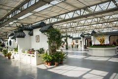 L'Asia Cina, Pechino, carnevale agricolo, architettura moderna, centro espositivo dell'interno, scena, architettura antica Fotografia Stock Libera da Diritti
