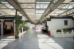 L'Asia Cina, Pechino, carnevale agricolo, centro espositivo dell'interno, mattonelle di grey della parete di ŒWhite del ¼ del bui Fotografia Stock