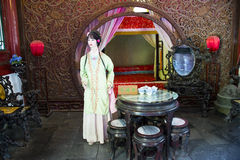 L'Asia Cina, Pechino, grande giardino di vista, dell'interno, un sogno dei palazzi rossi, la scena dei caratteri Fotografie Stock Libere da Diritti