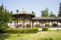 L'Asia Cina, Pechino, parco culturale cinese, costruzioni antiche, padiglione rotondo, il corridoio lungo Fotografie Stock