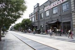 L'Asia, Cina, Pechino, via di Qianmen, via commerciale, via della passeggiata Fotografie Stock Libere da Diritti