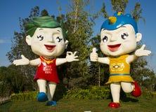 L'Asia Cina, Wuqing Tientsin, Expo verde, mascotte del fumetto Fotografia Stock